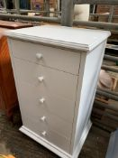 Light grey painted chest of five drawers