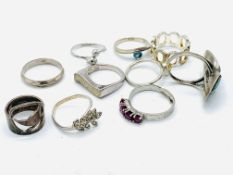 Eight various silver rings and two others