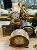 French style figural gilt metal mantel clock and three others