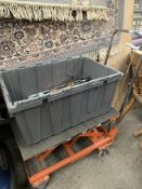 Height adjustable platform trolley, and a box of hand tools