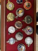 39 quartz pocket watches by Hachette, in 3 drawer cabinet