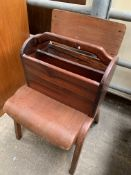 Wooden magazine rack and a 1950's plywood stackable chair