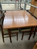 Meredew teak extendable table with four ladder back chairs