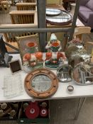 Two Staffordshire Spill vases, dressing table mirrors and other items