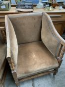 Pair of oak framed library chairs