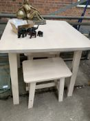 Laminate kitchen table with two matching stools