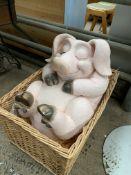 Humorous Pig figure in a wicker basket