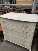 Cream painted French style chest of 4 drawers