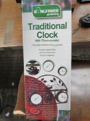 Kingfisher traditional clock and thermometer