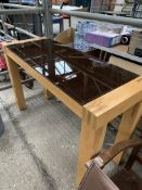 Laminate and smoked glass side table