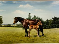 Framed oil on board painting of a mare and foal