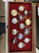 40 quartz pocket watches by Hachette, in 3 drawer cabinet