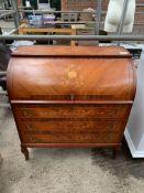 Inlaid mahogany veneer roll top bureau