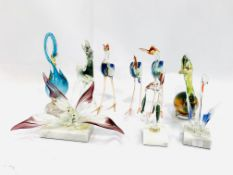 A collection of 8 Murano glass bird figures, and a Murano glass horse
