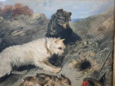 Two gilt framed and glazed watercolours of terriers hunting