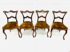 A group of four Victorian mahogany dining chairs