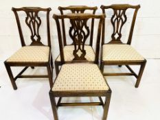 A group of four 19th Century mahogany framed Chippendale style chairs