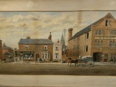 Framed and glazed watercolour of Meaby's Bakery in Reading