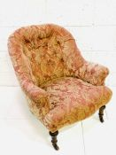 Victorian pink button back floral upholstered armchair