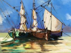 Unframed oil on canvas of sailing boats