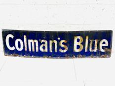 "Enamel advertising sign for ""Coleman's Blue"","