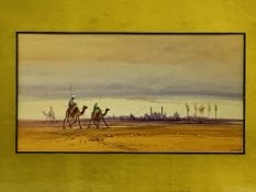 Gilt framed and glazed watercolour of a desert scene signed D.H. Pinder