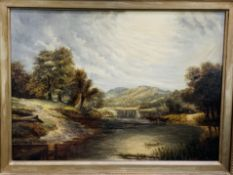 Gilt framed oil on canvas of river, trees and mountain scene with cattle