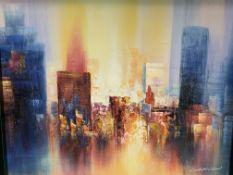 Framed oil on board modern cityscape signed Richardson