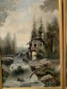 A pair of framed oils on canvas mountain river scenes by Heinrich Kolbe (1771-1836)
