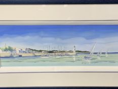Framed and glazed water colour of sailing boats by Philippe Deschamps