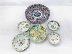 Chinese mille fleur small dish another dish and 2 hand painted bowls