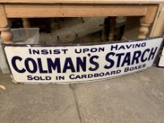 Blue and white enamel Colman's advertising sign