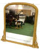 Gilded rope twist framed over-mantel mirror