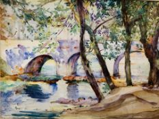 Framed and glazed watercolour of trees by a river and a bridge, signed M. Wells