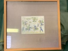 Framed and glazed painting on ivorine of Middle Eastern warriors