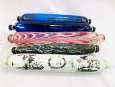 A group of 5 glass rolling pins, a lustre glass and a Wedgwood glass eau de cologne bottle