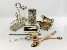 Two copper Benham and Sons serving utensils and a quantity of silver plate items