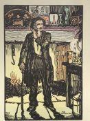 "Jack Butler Yeats (1871-1957), handcoloured woodblock print entitled ""The Shanachie"""