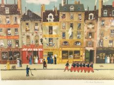 A framed and glazed print of a French street scene signed Michel Delacroix,