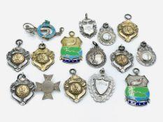 Fourteen hallmarked silver medals