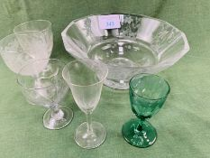 Crystal glass fruit bowl with 3 Victorian glasses and 2 others