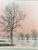 An early Rex N Preston framed oil on board of a flooded landscape with trees in a pink sunset