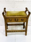 Oak Arts and Crafts style piano stool