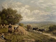 George William Mote (1832-1909). Framed oil on canvas harvest scene in the Surrey Hills
