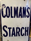 """Blue and white enamel advertising sign """"Colman's Starch"""""""