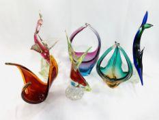 Six items of Murano glass