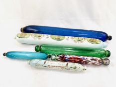 A group of 6 glass rolling pins