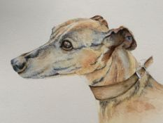 """Framed and glazed watercolour """"The Lurcher"""" by Julia Griffiths"""