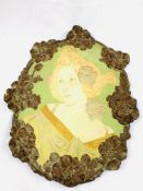 Art Nouveau wall plaque of a lady's head and shoulders, stamped 'Made in Austria, Ernst Wahliss'