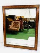 Inlaid walnut and mahogany framed wall mirror